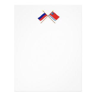 Banderas cruzadas de Rusia y de Magadan Oblast Membrete Personalizado
