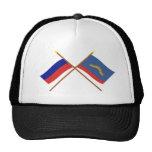 Banderas cruzadas de Rusia y de Murmansk Oblast Gorros Bordados
