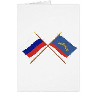 Banderas cruzadas de Rusia y de Murmansk Oblast Tarjeton