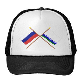 Banderas cruzadas de Rusia y de Nenets Okrug autón Gorras