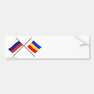 Banderas cruzadas de Rusia y de Rostov Oblast Pegatina Para Auto