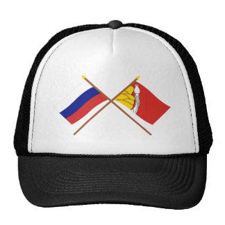 Banderas cruzadas de Rusia y de Voronezh Oblast Gorras