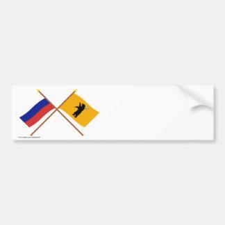 Banderas cruzadas de Rusia y de Yaroslavl Oblast Pegatina Para Auto