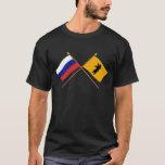 Banderas cruzadas de Rusia y de Yaroslavl Oblast Playera