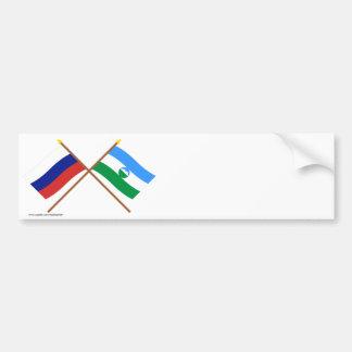 Banderas cruzadas de Rusia y del Rep. de Pegatina Para Auto