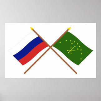 Banderas cruzadas de Rusia y república de Adygea Póster