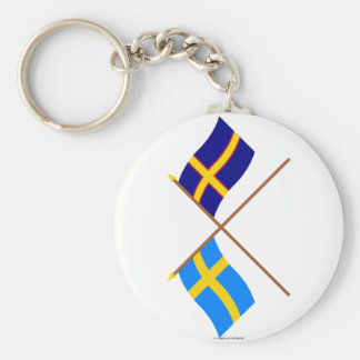 Banderas cruzadas de Suecia y de Hälsingland Lands Llaveros