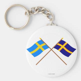 Banderas cruzadas de Suecia y de Hälsingland Lands Llavero Personalizado