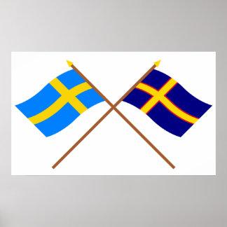 Banderas cruzadas de Suecia y de Hälsingland Lands Póster