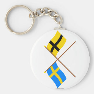 Banderas cruzadas de Suecia y de Härjedalen Landsk Llaveros Personalizados