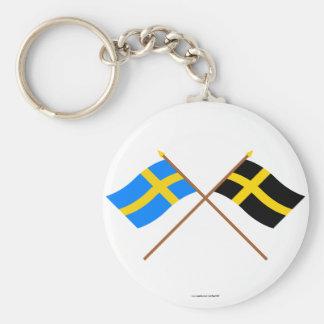 Banderas cruzadas de Suecia y de Härjedalen Landsk Llaveros