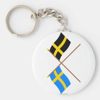 Banderas cruzadas de Suecia y de Härjedalen Landsk Llavero Personalizado
