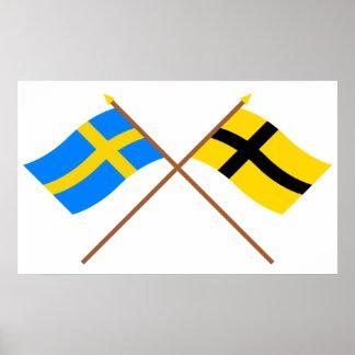Banderas cruzadas de Suecia y de Härjedalen Landsk Póster