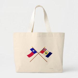 Banderas cruzadas de Tejas y de Austin-Wharton-Arc Bolsa Tela Grande