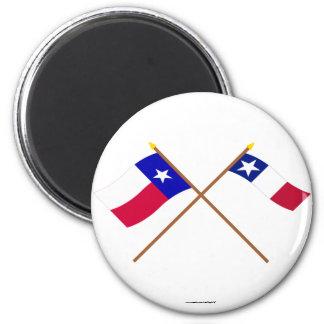 Banderas cruzadas de Tejas y de Dodson Imán De Frigorifico