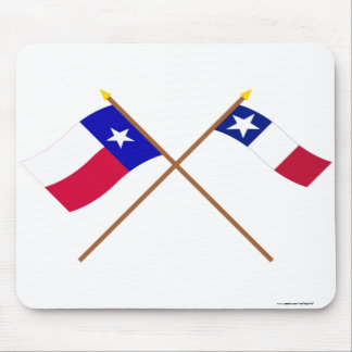 Banderas cruzadas de Tejas y de Dodson Tapete De Raton