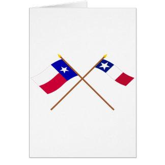 Banderas cruzadas de Tejas y de Dodson Tarjeta De Felicitación