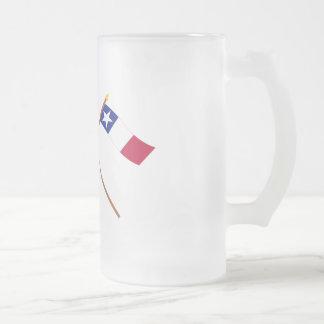 Banderas cruzadas de Tejas y de Dodson Taza De Cristal