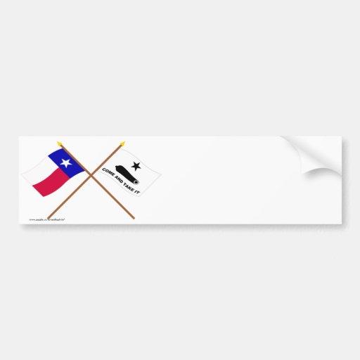 Banderas cruzadas de Tejas y de Gonzales Etiqueta De Parachoque
