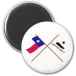 Banderas cruzadas de Tejas y de Gonzales Iman Para Frigorífico