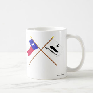 Banderas cruzadas de Tejas y de Gonzales Tazas De Café