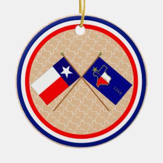Banderas cruzadas de Tejas y del condado de El Pas Ornamentos De Navidad