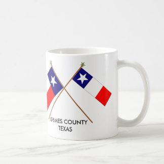 Banderas cruzadas de Tejas y del condado de Grimes Taza Clásica