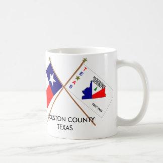 Banderas cruzadas de Tejas y del condado de Housto Tazas