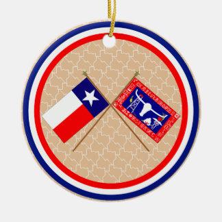 Banderas cruzadas de Tejas y del condado de Jones Ornamento Para Arbol De Navidad