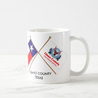 Banderas cruzadas de Tejas y del condado de Llano Tazas