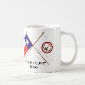 Banderas cruzadas de Tejas y del condado de Parker Tazas De Café