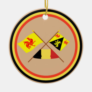 Banderas cruzadas de valón y de Brabante con Adorno Navideño Redondo De Cerámica