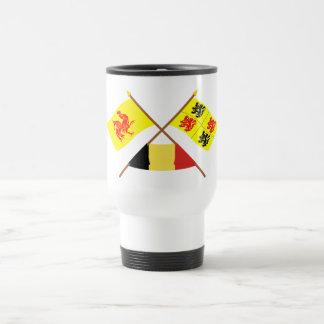 Banderas cruzadas de valón y de Hainaut con Taza De Viaje De Acero Inoxidable