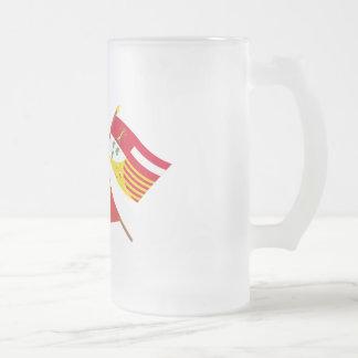 Banderas cruzadas de valón y de Liège con Bélgica Taza Cristal Mate