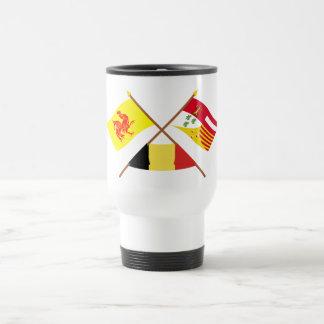 Banderas cruzadas de valón y de Liège con Bélgica Taza De Viaje De Acero Inoxidable
