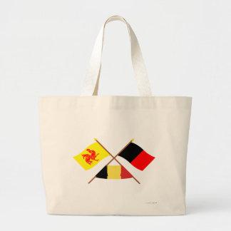Banderas cruzadas de valón y de Namur con Bélgica Bolsa Tela Grande