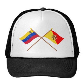 Banderas cruzadas de Venezuela y de Sicilia Gorras