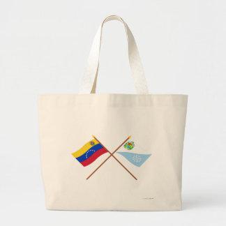 Banderas cruzadas de Venezuela y de Sucre Bolsas De Mano