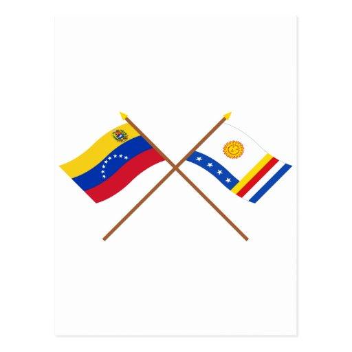 Banderas cruzadas de Venezuela y de Vargas Postales