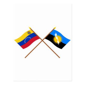 Banderas cruzadas de Venezuela y de Zulia Postales