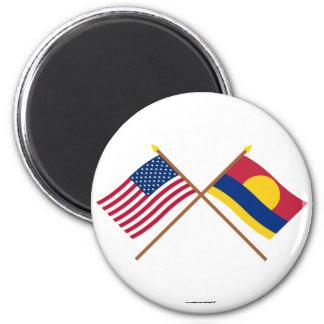 Banderas cruzadas del atolón de los E.E.U.U. y de  Iman Para Frigorífico