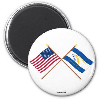 Banderas cruzadas del atolón de los E.E.U.U. y de  Imán De Frigorifico