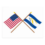 Banderas cruzadas del atolón de los E.E.U.U. y de  Tarjetas Postales