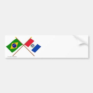 Banderas cruzadas del Brasil y de Alagoas Pegatina Para Auto