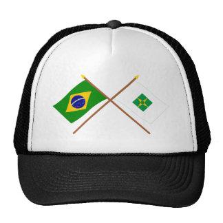 Banderas cruzadas del Brasil y de Distrito federal Gorros