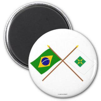 Banderas cruzadas del Brasil y de Distrito federal Iman De Nevera