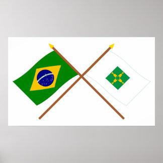 Banderas cruzadas del Brasil y de Distrito federal Poster