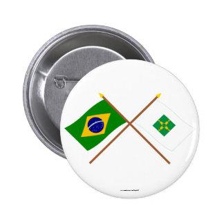 Banderas cruzadas del Brasil y de Distrito federal Pin