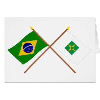 Banderas cruzadas del Brasil y de Distrito federal Tarjetas
