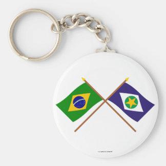 Banderas cruzadas del Brasil y de Mato Grosso Llavero